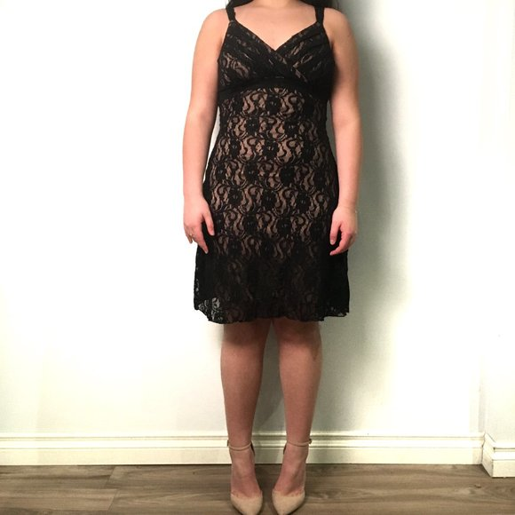 Trixxi Black lace Dress with Straps Medium/Large